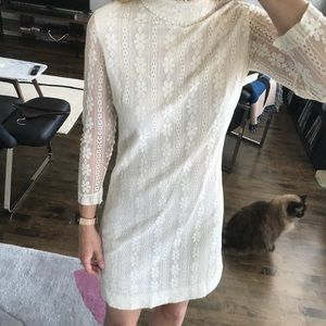 VINTAGE 70's ivory / white lace mini dress